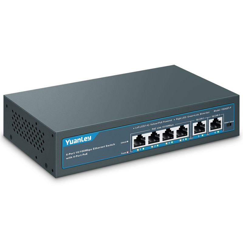 YuanLey 6 Port PoE Switch with 4 Port PoE+, 2 Ethe...