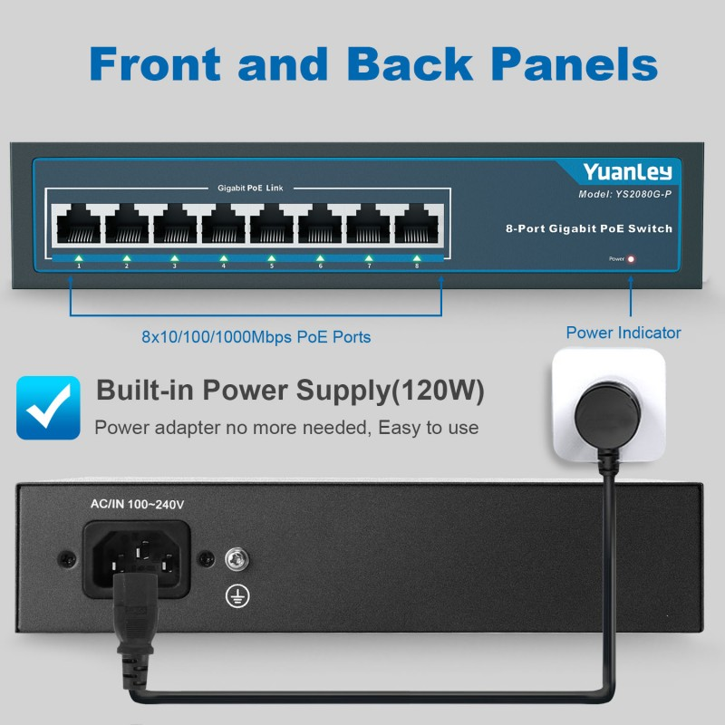 YuanLey 8 Port Gigabit PoE Switch, 8 PoE+ Ports 1000Mbps, 120W 802.3af/at, Metal Fanless Unmanaged Plug and Play